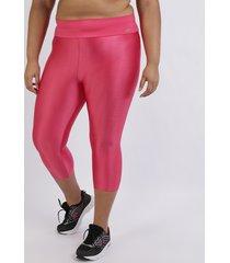 calça feminina plus size corsário com recortes cintura alta pink