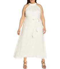 adrianna papell geometric jacquard halter dress, size 14w in ivory at nordstrom