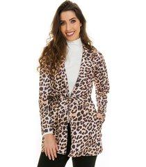 casaco sobretudo jogabe animal print - tricae