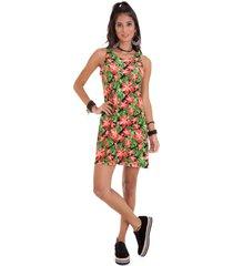 vestido manola regata estampa folhas verde com laranja