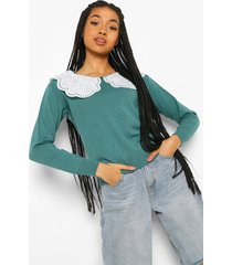 2 in 1 woven collar sweater, teal