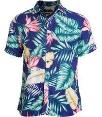 camisa areia branca slim fit floral hawaii estampada azul