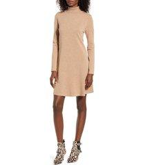 women's vero moda happy roll neck long sleeve a-line sweater dress, size large - brown