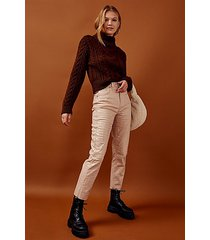 brown cable knitted crop roll neck sweater - chocolate