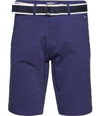 dks belted bermuda shorts shorts chinos shorts blå sebago