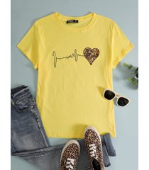 basic plus talla blanca crew cuello corazón camiseta de manga corta
