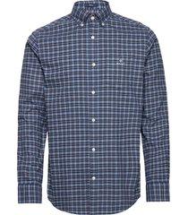d1. brushed oxford check reg bd overhemd casual blauw gant