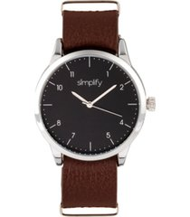 simplify quartz the 5600 black dial, genuine brown leather watch 40mm