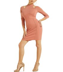 guess long-sleeve camryn ribbed bodycon dress