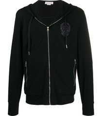 alexander mcqueen embroidered beaded skull zipped hoodie - black