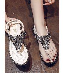 rhinestone elastic t-strap post thong flat sandals