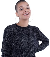blusa feminina tricô cropped chenille pop me preto