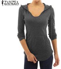 zanzea mujeres más tamaño camiseta t-top con capucha sudaderas sudadera con capucha llana túnica de la blusa -gris oscuro