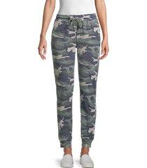 pure navy women's camo-print cotton-blend jogger pants - faded camo - size xs
