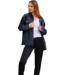 chaqueta negra odas oversize jean