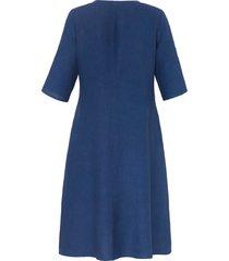 jurk 100% linnen 3/4-mouwen van anna aura blauw