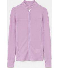 jaqueta esportiva fit texturizada e punhos com dedinhos