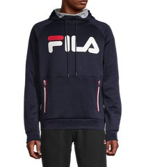fila men's ezra tech logo hoodie - peach black - size s