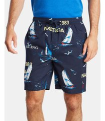 nautica men's cotton sailboat-print pajama shorts