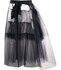 simone rocha tulle overlay tiered skirt - black