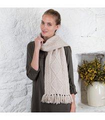 handknitted merino wool scarf oatmeal