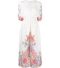 zimmermann crimson floral shirred midi dress - white