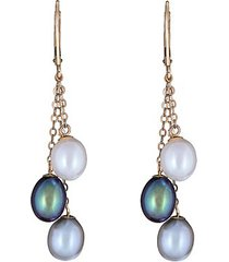 14k yellow gold & 7mm multicolor freshwater pearl drop earrings