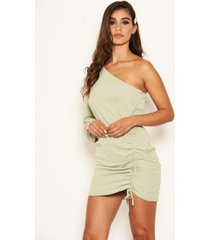 ax paris women's one shoulder dress with side ruched tie detail