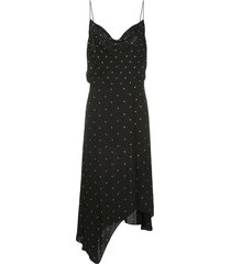 veronica beard embellished cowl neck dress - black