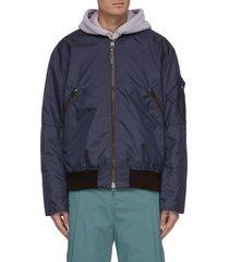 rib collar nylon bomber jacket