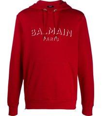 balmain logo print hooded sweatshirt - red