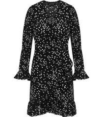 overslag jurk hartjes zwart wit