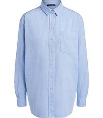 oversized katoenen blouse caro  blauw