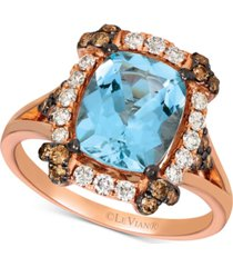 le vian aquamarine (2-1/5 ct. t.w.) & diamond (5/8 ct. t.w.) ring in 14k rose gold