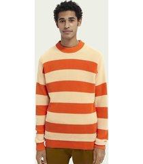 scotch & soda ribgebreide sweater met blokstrepen