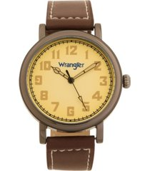 wrangler men's watch, 50mm antique grey case with beige dial, white arabic numerals, with white hands, brown strap with white stitching, over sized crown