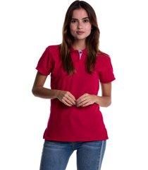 camiseta polo hamer, básica de mujer, casual, para uso diario, clasica color fucsia oscuro