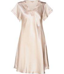 pure silk - nightgown w.lace, short nachthemd negligé roze lady avenue