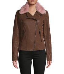faux fur-collar faux leather jacket