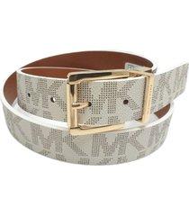 michael kors vanilla/cognac gold buckle reversible logo belt  553119c-size small