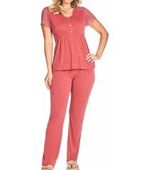 pijama gestante calça c/renda 310118 brilho da seda