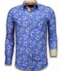 overhemd lange mouw tony backer blouse woven flowers pattern