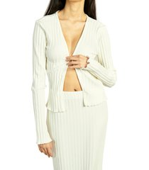 simon miller dookie open front ribbed cardigan, size large in macadamia at nordstrom