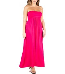 24seven comfort apparel women's plus size belted empire waist maxi dress