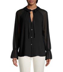 bailey 44 women's amber chiffon tie-neck blouse - black - size s
