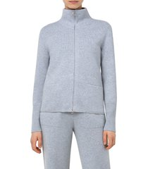 akris stand collar cashmere cardigan, size 4 in aluminum at nordstrom