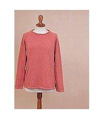 pima cotton pullover, 'warm eden in guava' (peru)