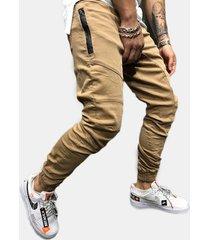 uomo casual multi tasche con coulisse in vita elastica carico pantaloni