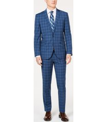 kenneth cole unlisted men's slim-fit stretch blue graph plaid suit