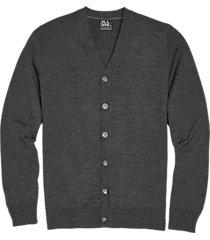 jos. a. bank traveler charcoal heathered modern fit merino wool cardigan